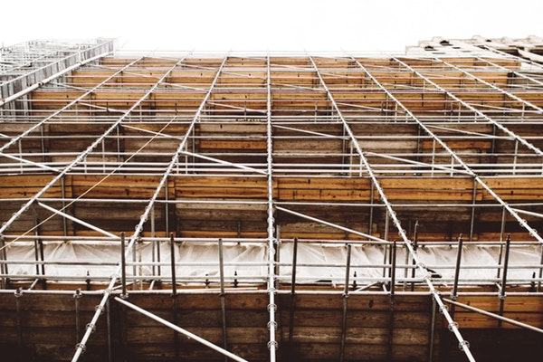Scaffolding outside a tall building in North Yorkshire.