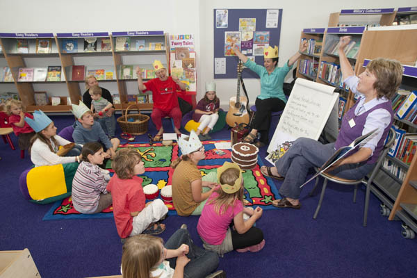 Children listening to stories at a library in North Yorkshire.