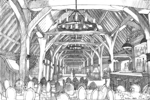 Architects drawing of inside The Tithe Barn at Bolton Abbey