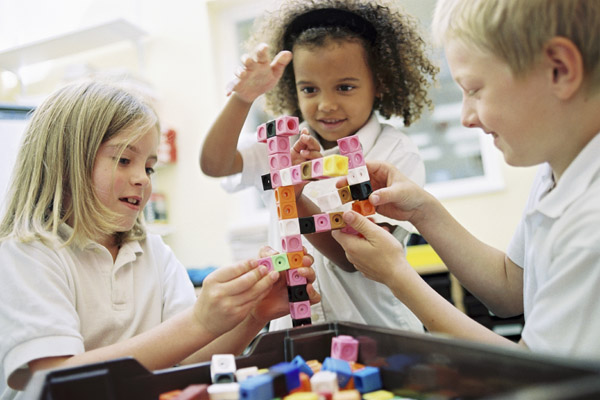 Children playing with block in a school in North Yorkshire.