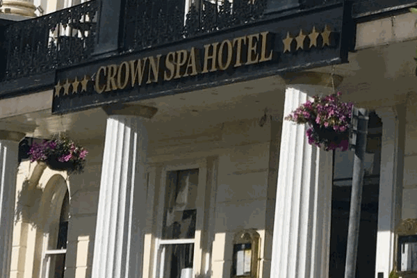 Crown Spa Hotel sign outside