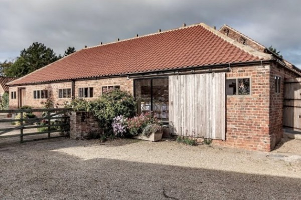 Outside of wedding venue Woolas Barn in North Yorkshire