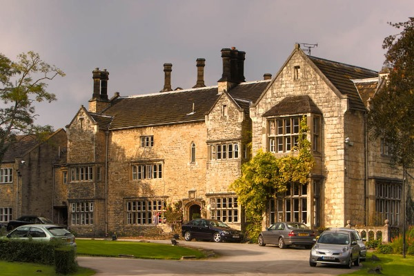 Outside of wedding venue Monk Fryston Hall Hotel in North Yorkshire