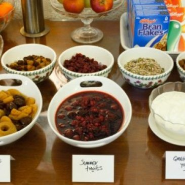 A selection of fruits and other breakfast items at Newton House Guest House.