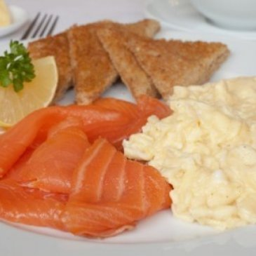 Salmon and scrambled egg at Newton House Guest House.