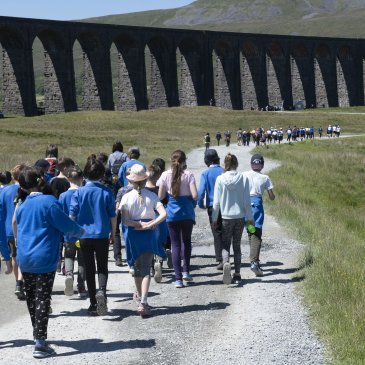 Pupils from seven schools walking to Ribblehead
