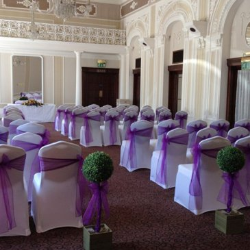 Seats facing towards wedding ceremony at Cedar Court Hotel