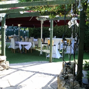 Garden stools and marquees for weddings at Chapters Hotel and Restaurant