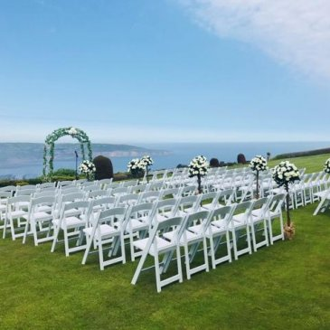 Chairs set up for outdoor wedding ceremony
