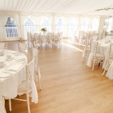 Inside the wedding marquee