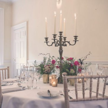 Dining table set for wedding dinner