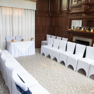 Chairs laid out for wedding ceremony