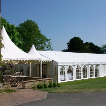 Large wedding marquee outside venue