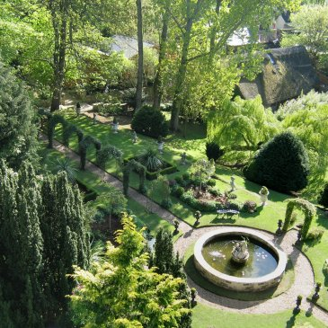 Beautiful view of the Crab Manor Hotel garden space
