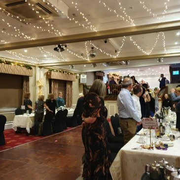Wedding celebrations in large hall with fairy lights