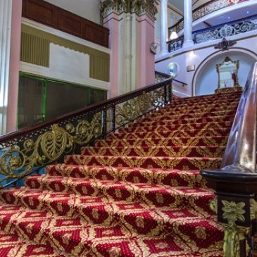 Large staircase in entrance of Grand Hotel