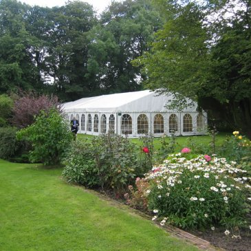 Large marquee in beautiful garden