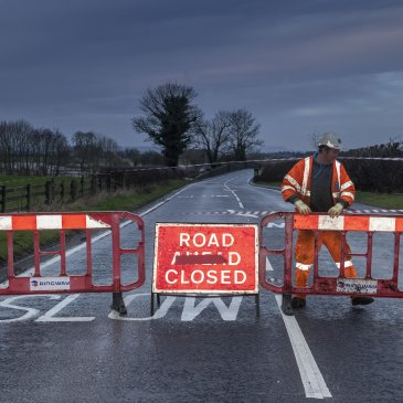 North Yorkshire Highways officers closing road during floods