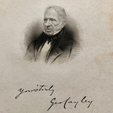 Engraving taken from a photographic portrait of Sir George Cayley, including his signature, published in 1843.