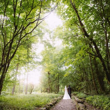 Beautiful forest with bride and groom walking through