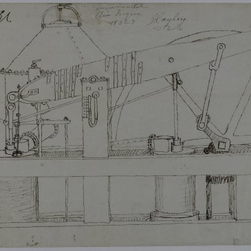 ketch of an experimental air engine by George Cayley c.1836.