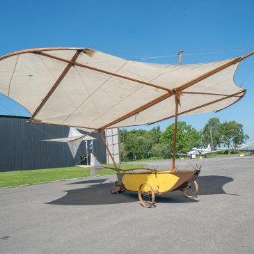 Replica of George Cayley's glider which can be seen at the Yorkshire Air Museum
