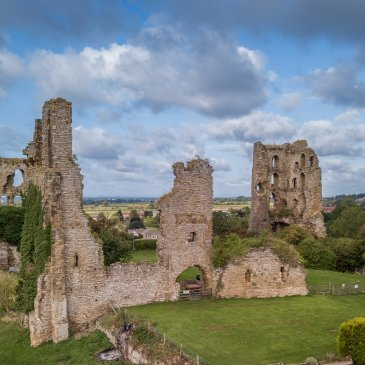 Sheriff Hutton Castle from above on lovely day