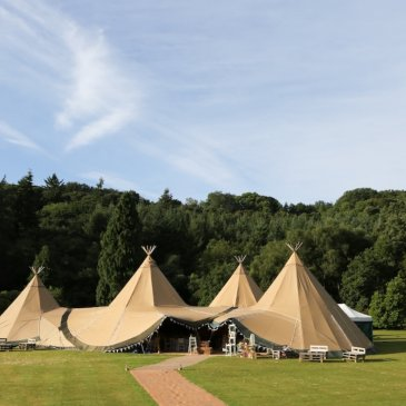 Marquee set up outside of Egton Estate