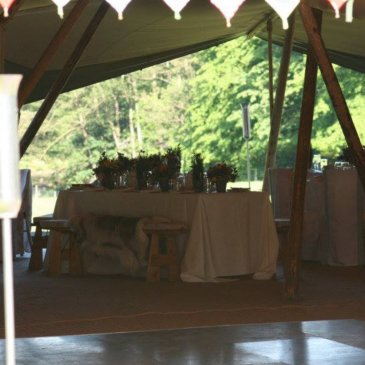 Marquee with tables set up for wedding meal