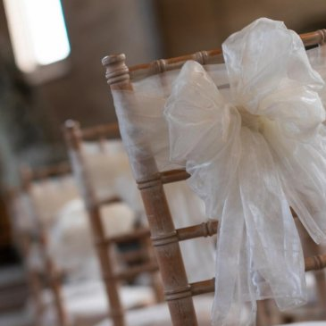 Seats with decorations ready for wedding