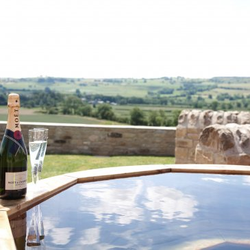 Hot tub looking over beautiful scenic Countryside, perfect backdrop for wedding photos