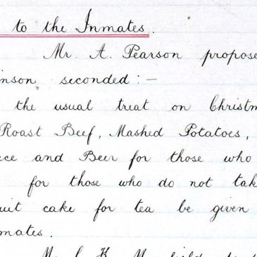 Christmas lunch treat for inmates of Thirsk workhouse from 1910