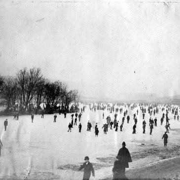 Ice skating on the frozen Mere lake, Scarborough