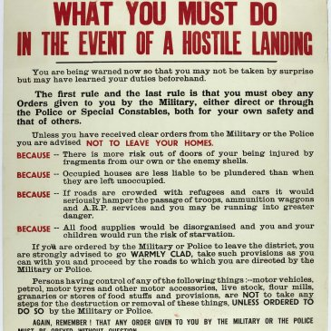 In June 1940, the North Riding County Council published 'Forewarned is Forearmed' posters across the county to advise the population what to do in the event of a hostile landing.