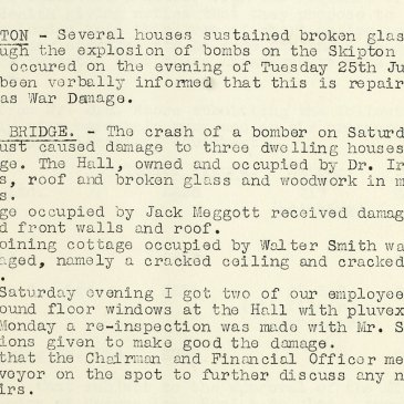 Lives were also lost when planes crashed on take-off or landing.  Here a report of damage caused by the crash of a bomber at RAF Skipton on Swale