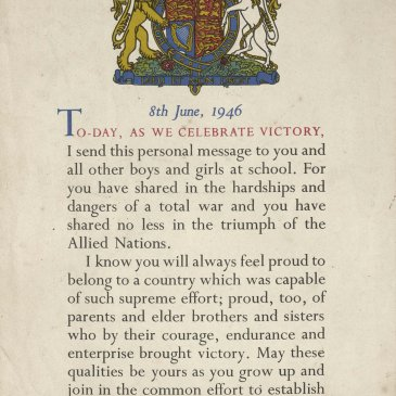 ertificate sent by George VI to all schoolchildren following  the end of the War.