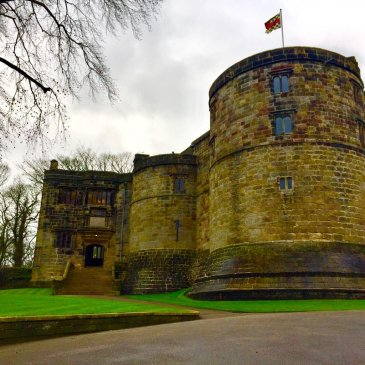 A flag flies atop Skipton Castle