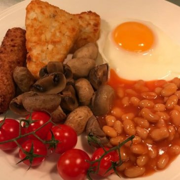Photograph of a cooked breakfast at Grove House.