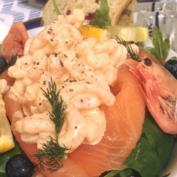 Photograph of prawn and salmon dish from Fryton Catering