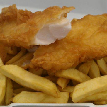 Photograph of fish and chips from Land and Sea