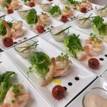 Photograph of fish starters served by Poppy caterers