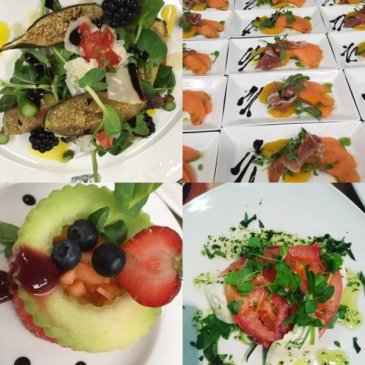 Photograph of starters served by Poppy caterers