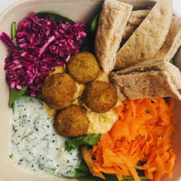 Photograph of falafel salad bowl served at Native Health Deli