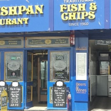 Photograph of the exterior of the Fish Pan restaurant