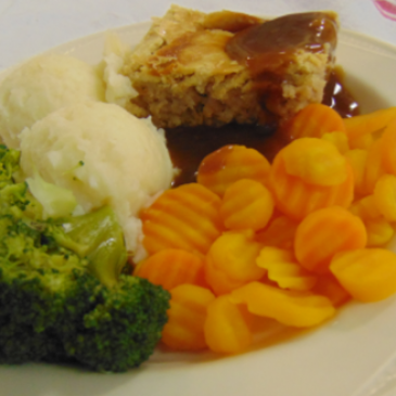 Photograph of a main meal served at Carentan House Care Home
