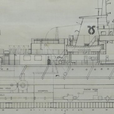 The 'Seaforth Clansman', yard number 1574 was changed from a platform supply vessel to a diving support vessel. It was cut in two and lengthened by 10 meters on the building berth.    Image: A section of the general arrangement plan of the 'Seaforth Clansman', c.1977. Trawling through time, North Yorkshire County Record Office.