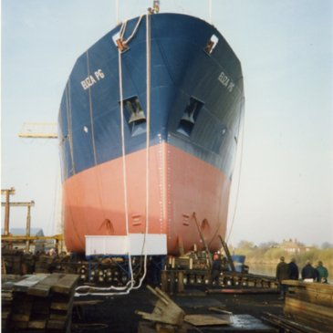 The 'Eliza PG' was the second to last vessel to be launched at the shipyard on 26th November 1991, and was a clean products tanker. Trawling through time, North Yorkshire County Record Office.