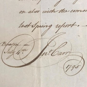 John Carr's signature, from 4 July 1795,
