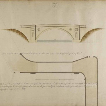 Page 1 of John Carr's Book of Bridges, showing the plan and elevation of Aysgarth bridge c.1805.