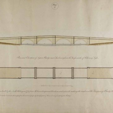 Page 4 of John Carr's Book of Bridges, showing the plan and elevation of Ayton Bridge near Scarborough c.1805.